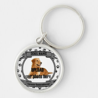 Dog Memorial Forever Remembered Silver-Colored Round Keychain