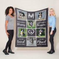 Dog Memorial Gift- Pet Loss Monogram Dog Keepsake Fleece Blanket