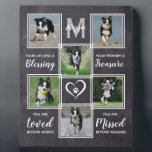 """Dog Memorial Gift- Pet Loss Monogram Dog Keepsake Plaque<br><div class=""""desc"""">Celebrate your best friend with a custom pet dog memorial photo collage plaque . This unique monogrammed pet name memorial pet photo keepsake plaque is the perfect gift for yourself, family or friends to honor those loved . We hope your photo memorial plaque will bring you joy , peace ,...</div>"""