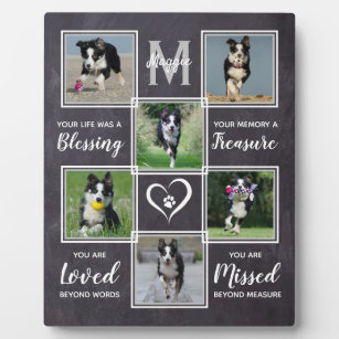 Dog Memorial Gift- Pet Loss Monogram Dog Keepsake Plaque