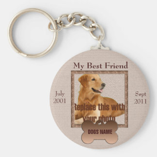 Dog Memorial in Beautiful Brown Tones Basic Round Button Keychain