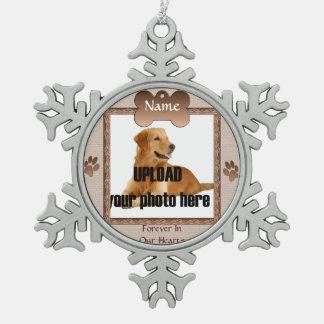 Dog Memorial Keepsake - Beige Snowflake Pewter Christmas Ornament