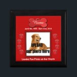 """Dog Memorial Leaving Paw Prints on Our Hearts Jewelry Box<br><div class=""""desc"""">In Loving Memory of your dog. A beautiful keepsake box to store dog tags and other small items in memory of your passing friend.   Click on &quot;customize it&quot; to change font colors and to re-size your photo.  MORE DOG MEMORIAL Gift Boxes -</div>"""