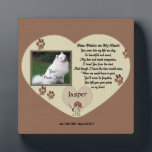 """Dog Memorial - Paw Prints on My Heart - Beige Plaque<br><div class=""""desc"""">In Loving Memory of your dog photo plaque.. Poem - Paw Prints on My Heart All products are customizable to your needs. Click on &quot;Customize it to change the font style, color and or placing. If you are having trouble fitting you photo or getting it perfect contact me at patcald@shaw.ca...</div>"""
