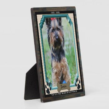 DOG Memorial PHOTO Plaque Paw Print On Hearts