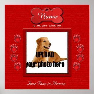 Dog Memorial Print - Paw Prints - Red