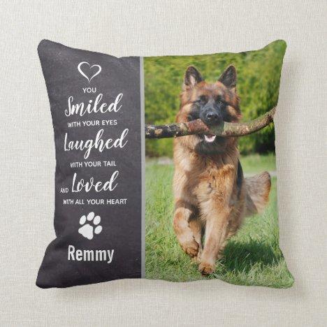 Dog Memorial Sympathy Keepsake Pet Loss Photo Throw Pillow