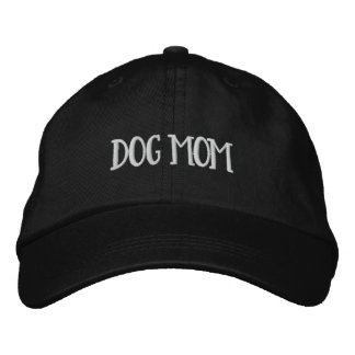 Dog Mom Adjustable Embroidered Hat (White Type)