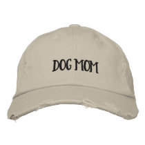 Dog Mom Distressed Chino Twill Cap (Black Type)