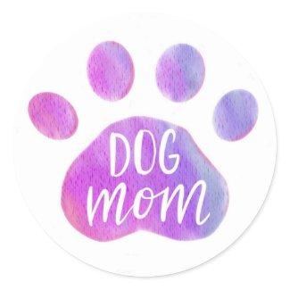Dog Mom Purple Paw Sticker