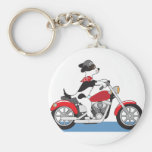 Dog Motorcycle Basic Round Button Keychain