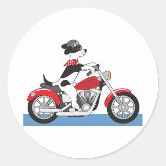 Dog Motorcycle Classic Round Sticker