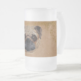 Dog Mozaic Frosted Glass Beer Mug