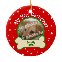 Dog My First Christmas Red and Green Pet Photo Ceramic Ornament