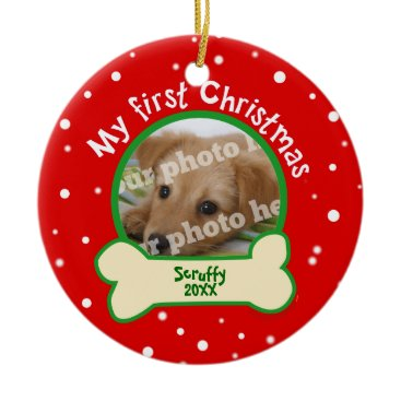 Christmas Themed Dog My First Christmas Red and Green Pet Photo Ceramic Ornament