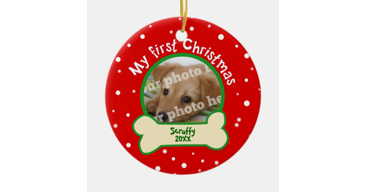 dog my first christmas red and green pet photo ceramic ornament zazzlecom