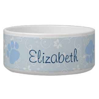 Dog Name, Blue Paws, Letters, Pale Blue Bowl