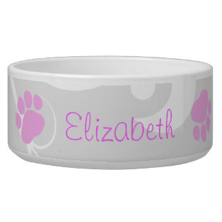 Dog Name, Pink Paws, Letters, Pale Black Bowl