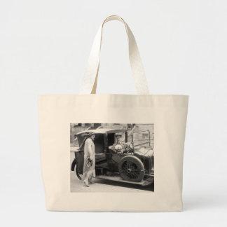 Dog Nanny and Chauffeur, 1920s Jumbo Tote Bag