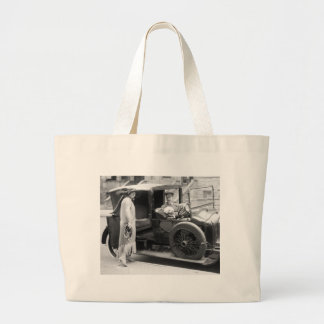 Dog Nanny and Chauffeur, 1920s Large Tote Bag