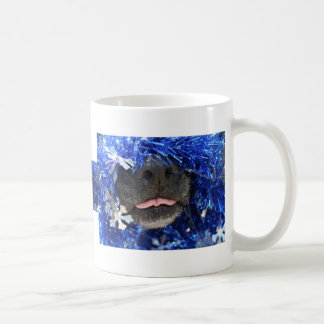 Dog Nose Small tongue Blue Tinsel Classic White Coffee Mug