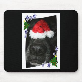 Dog Nose Wearing Santa hat, black lab mix Mousepad