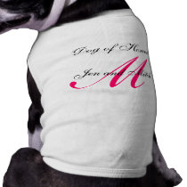 Dog of Honor Monogram Wedding Hot Pink Dog Shirt