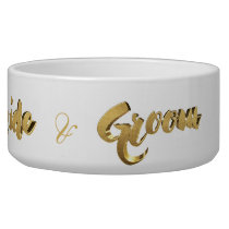 Dog of The Bride and Groom Elegant Gold Typography Bowl