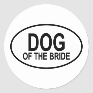 Dog of the Bride Black Wedding Oval Classic Round Sticker
