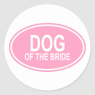 Dog of the Bride Wedding Oval Pink Classic Round Sticker