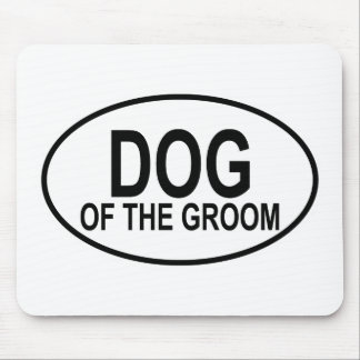 Dog of the Groom Black Wedding Oval Mouse Pad