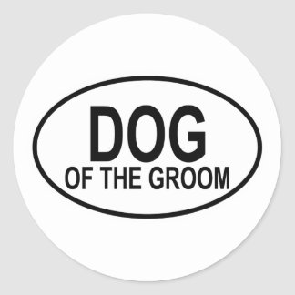 Dog of the Groom Black Wedding Oval Classic Round Sticker