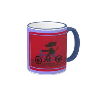 dog on a bike ringer mug
