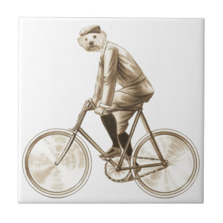 Dog on a bike vintage mixed media print ceramic tile