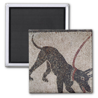 Dog on a leash, from Pompeii 2 Inch Square Magnet