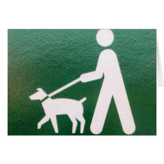 Dog on a Leash Sign Card
