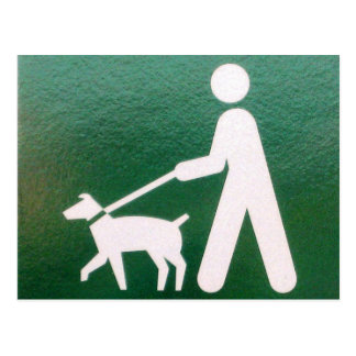 Dog on a Leash Sign Postcard