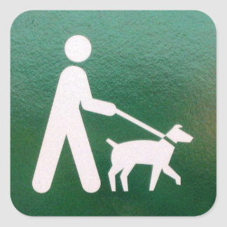 Dog on a Leash Sign Square Sticker