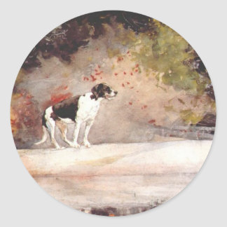 Dog on a log by Winslow Homer Classic Round Sticker