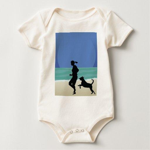 Dog on Beach Baby Bodysuit