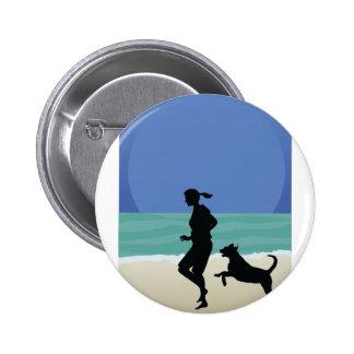 Dog on Beach Pinback Buttons