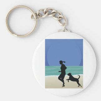 Dog on Beach Keychains