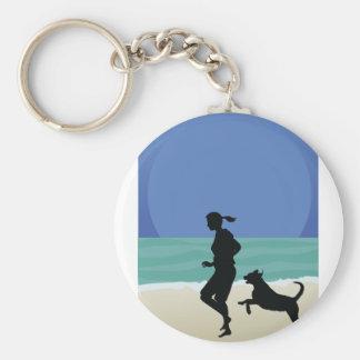Dog on Beach Key Chains