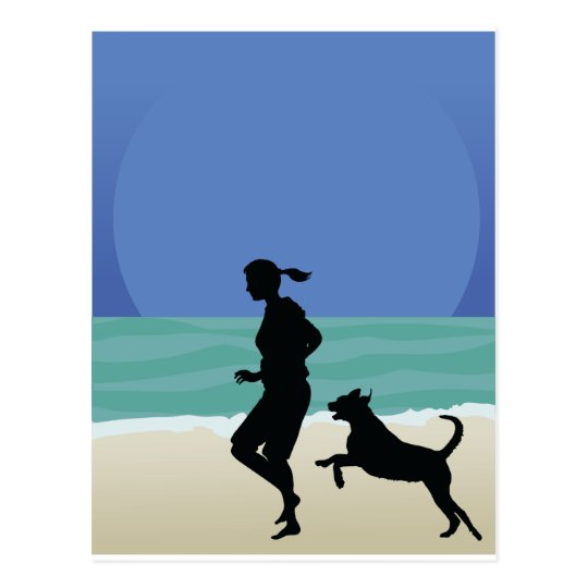 Dog on Beach Postcard