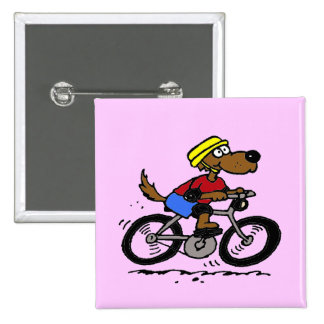 Dog On Bike! 2 Inch Square Button