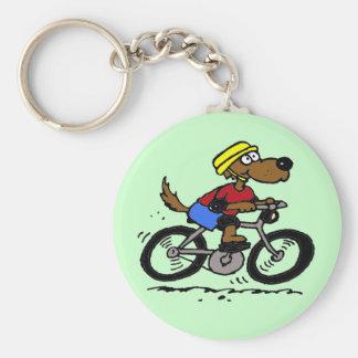 Dog On Bike! Basic Round Button Keychain