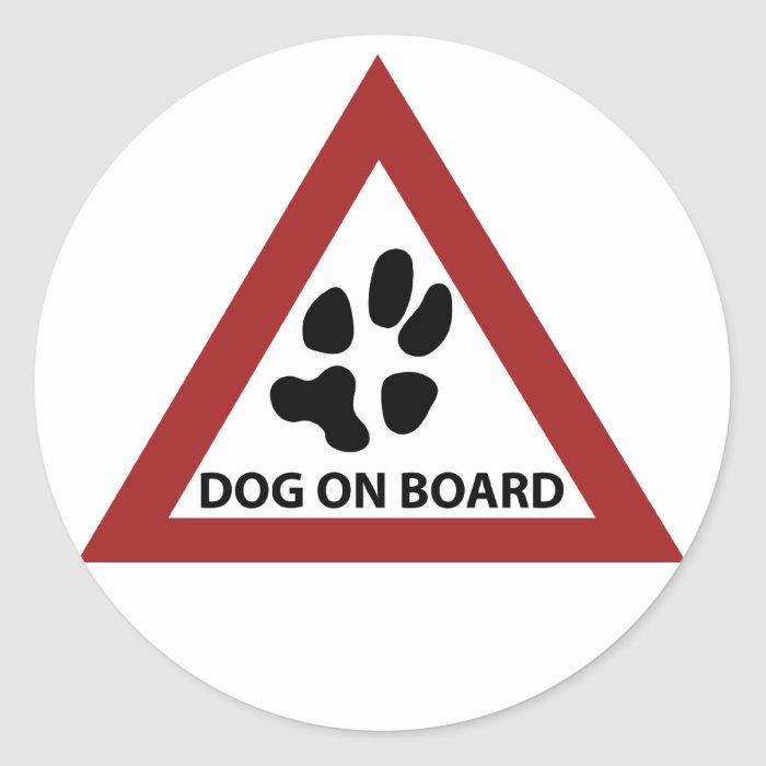 dog on board classic round sticker