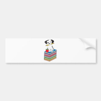 Dog on Books Bumper Sticker