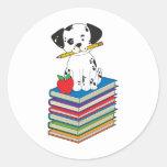 Dog on Books Classic Round Sticker