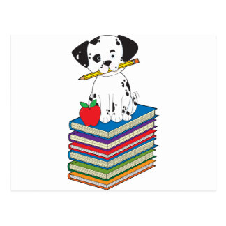 Dog on Books Postcard